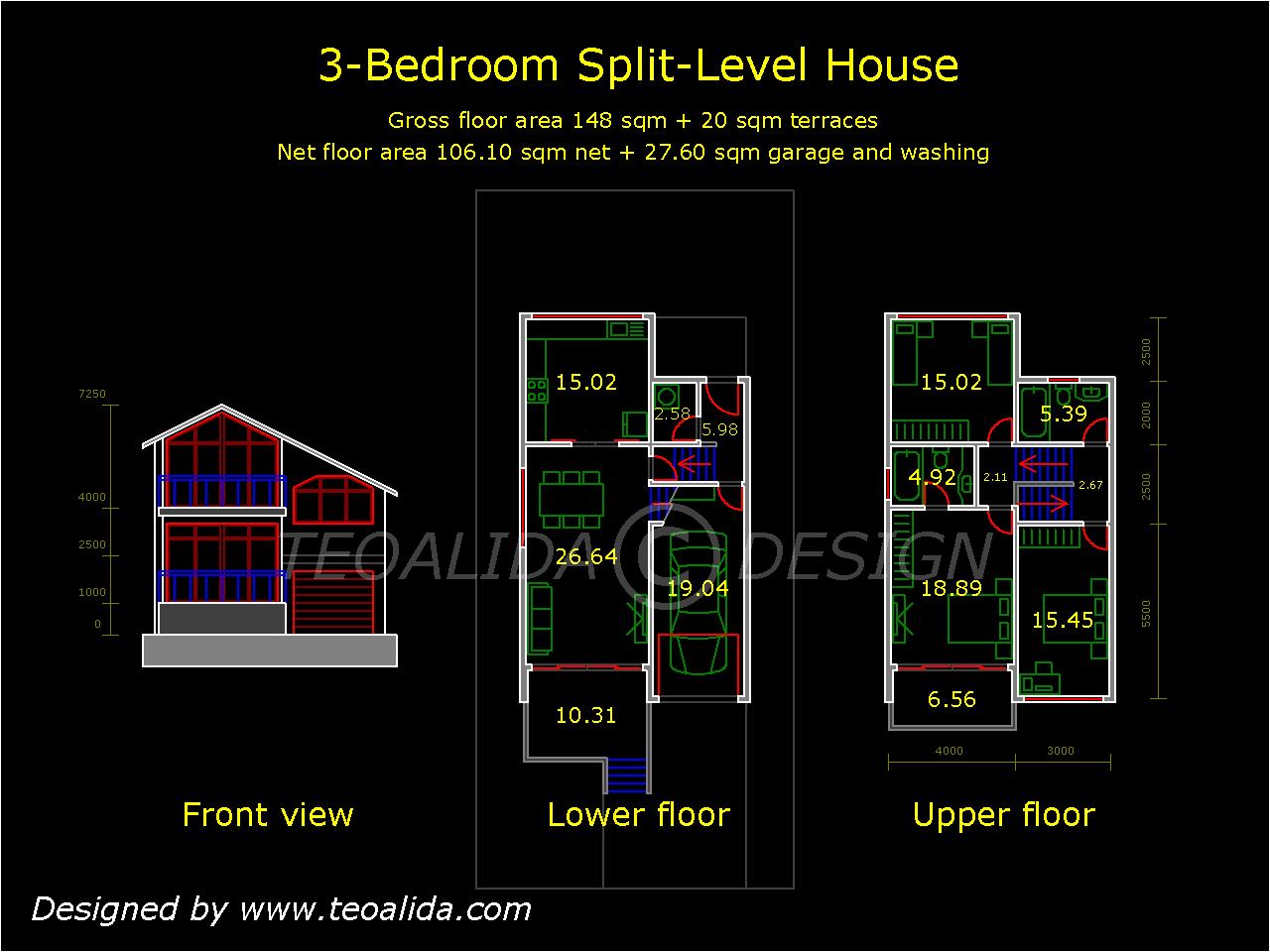 Plans Split Level House Floor Home
