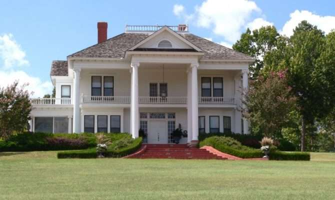 Plantation Home Has Tall Columns Pedimented Dormer Two