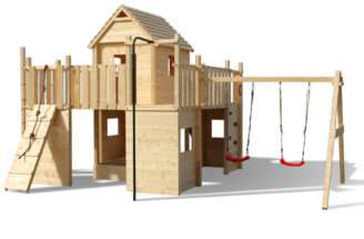 Play Tower Wooden Playhouse Castle Fortress Slide Swing Garden Outdoor