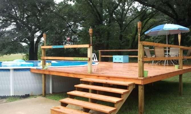 Pool Decks Plans Above Ground Design Deck
