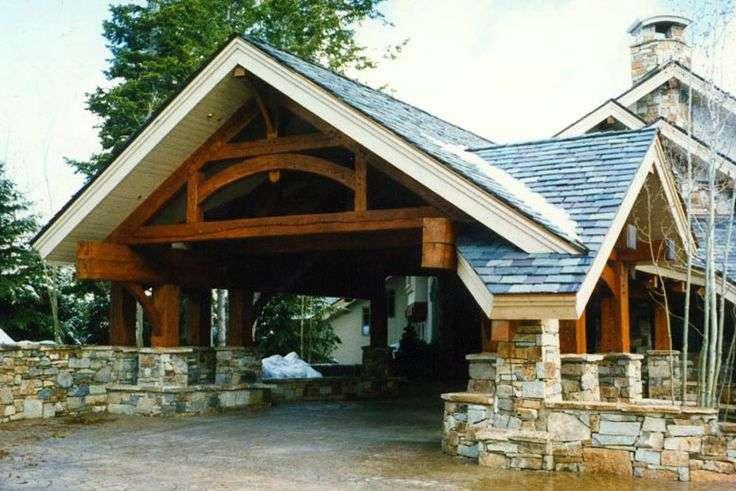 Porte Cochere Heavy Timber Frame
