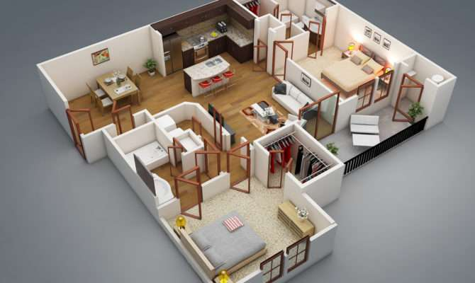 Possible Placement Two Bedrooms Apartment Plan