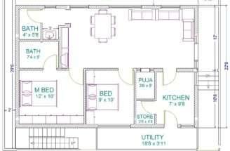 Raghavendra Bhk Vastu Home Plan East Facing Corner