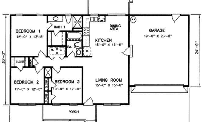 Ranch Beds Baths Plan Main Floor