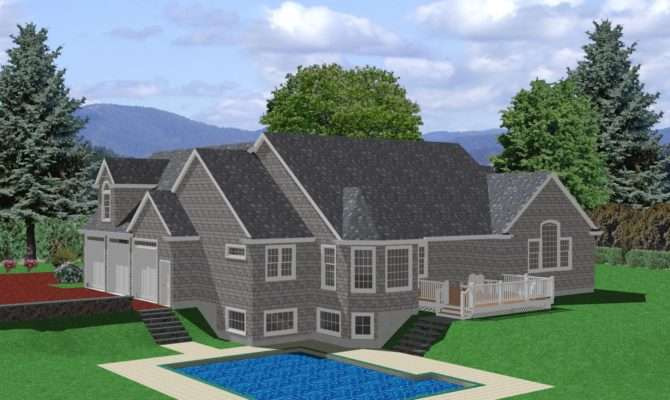 Ranch House Plan Sloped Lot Traditional
