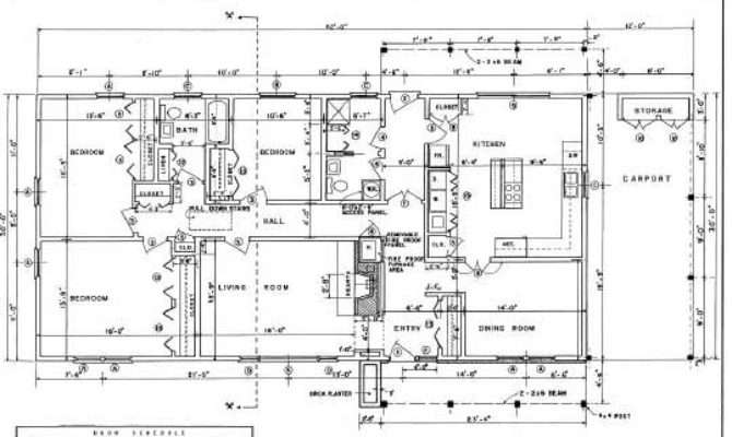 Ranch House Plans Bedroom Carport