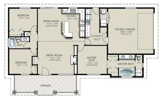 Ranch Style House Plan Beds Baths Floor