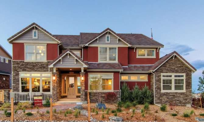 Red Stone House Exterior Accents Give Home Unique