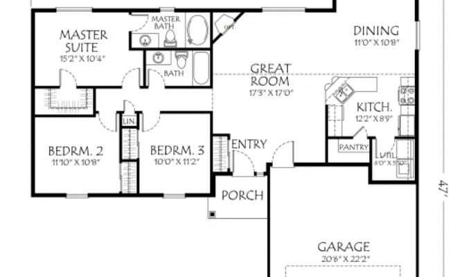 Remarkable One Story House Plans Open Floor Design
