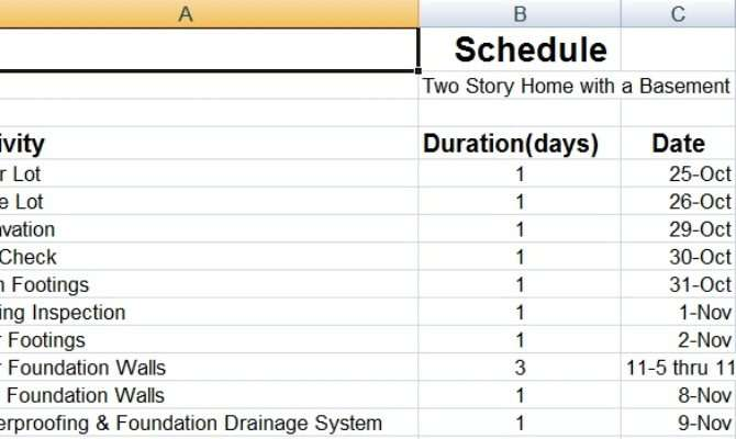 Residential Construction Schedule Template Success