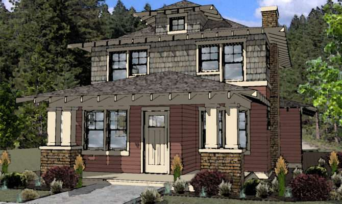River Design American Foursquare Style House Plan Bend Oregon