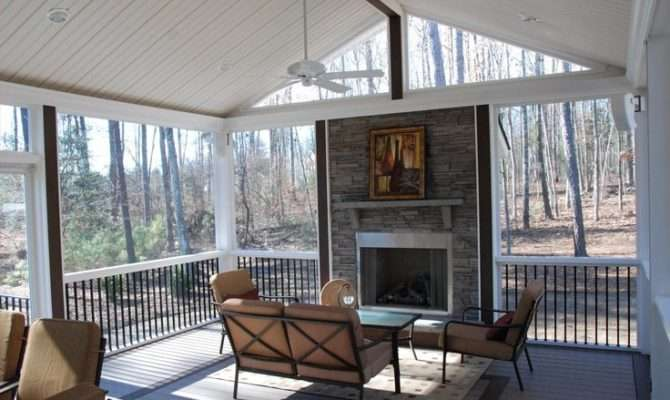 Rock Fireplace Screened Porch Ideas Redoing Back