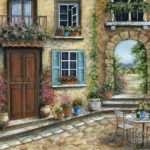 Romantic Tuscan Courtyard Painting Marilyn Dunlap