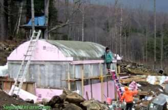 Roof Done Cottage Construction Pan Sugar Mountain Farm