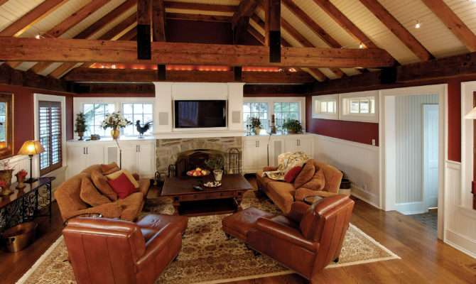 Room Addition Rustic Beams Vaulted Ceiling
