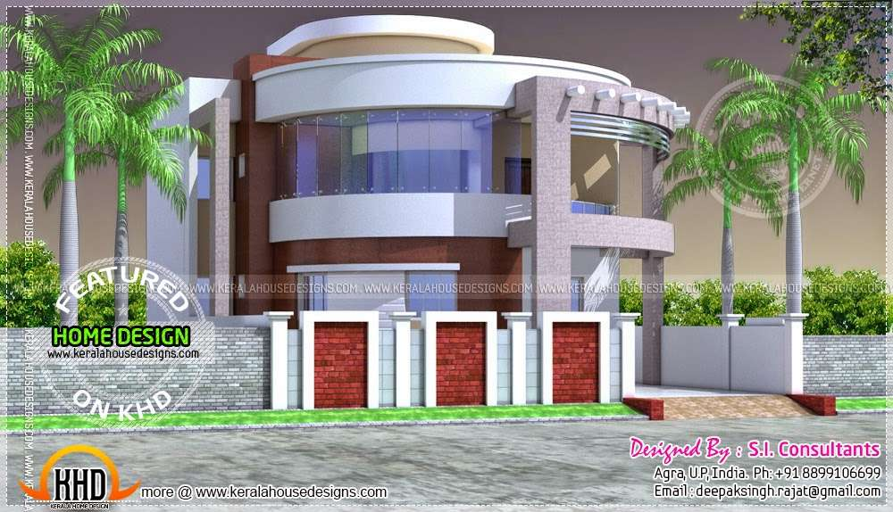 Round Style Contemporary House Design Kerala Home Floor