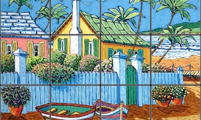 Rustic Beach Cottage Tile Mural Pacifica Art Studio
