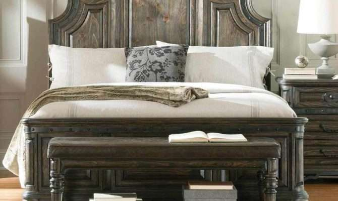Rustic Spanish Style Wire Brushed Finish King Bed Bedroom