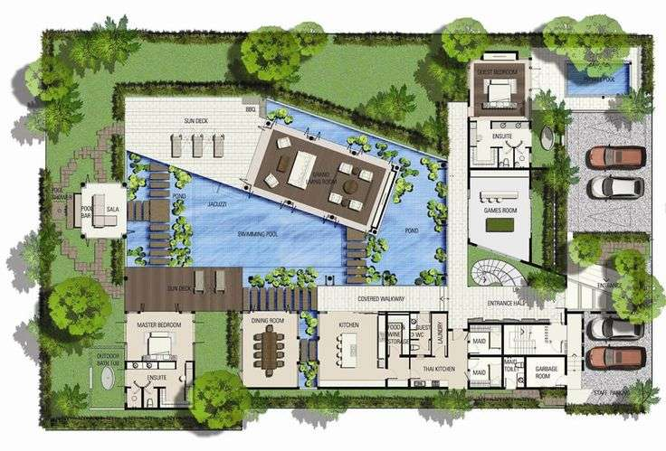 Saisawan Beach Villas Type Ground Floor Plan Architecture