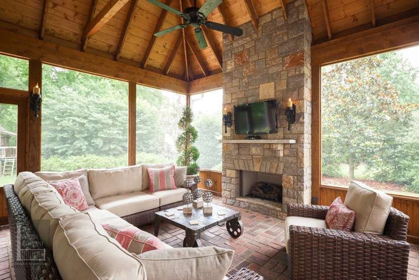 Screen Porch Outdoor Fireplace Companythe Company