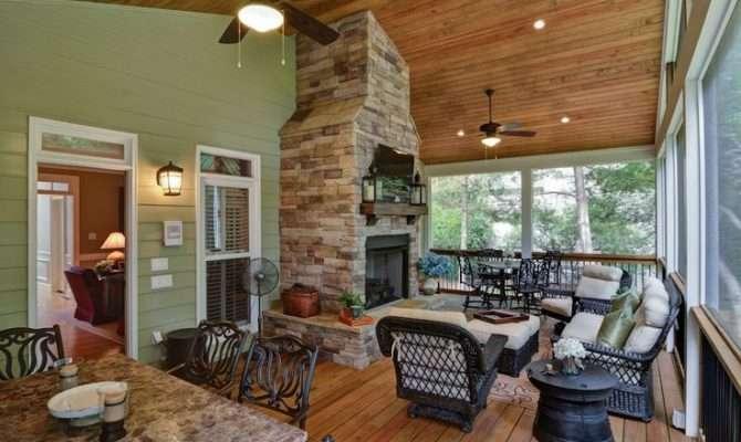 Screened Porch Addition Fireplace Retreats Pinterest