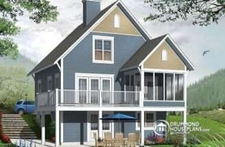 Screened Porch Cottage House Plan Walkout Basement Open Floor