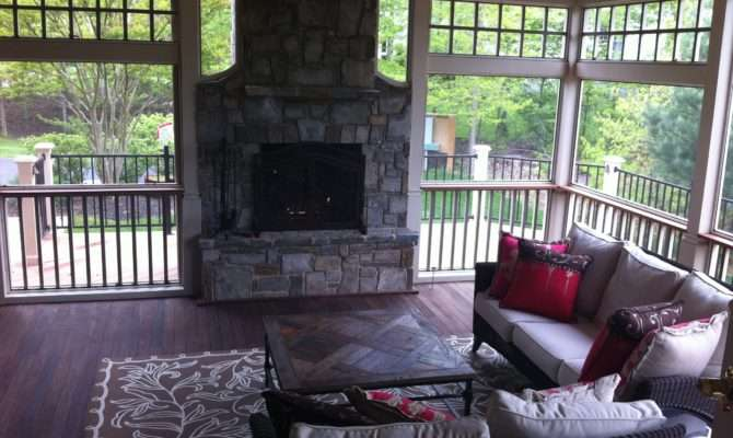 Screened Porch Fireplace Homes Decorations Ideas