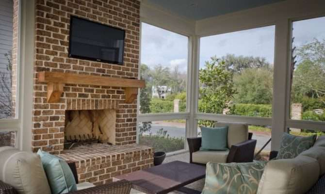 Screened Porch Fireplace Love Favorite Places Spaces Pinte