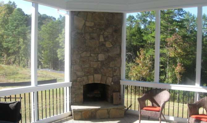 Screened Porch Plans Ideas Fireplace