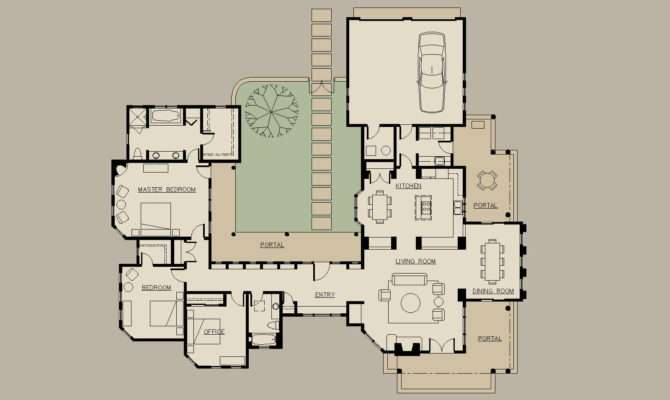 Searched Spanish Style House Plans Interior Courtyard