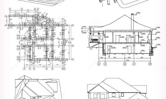 Set Houses Blueprint Vector