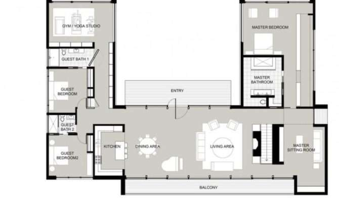 Shaped House Plans Courtyard Houses Pinte