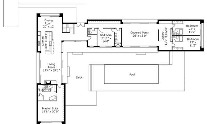 Shaped House Plans Pool Middle Design Home