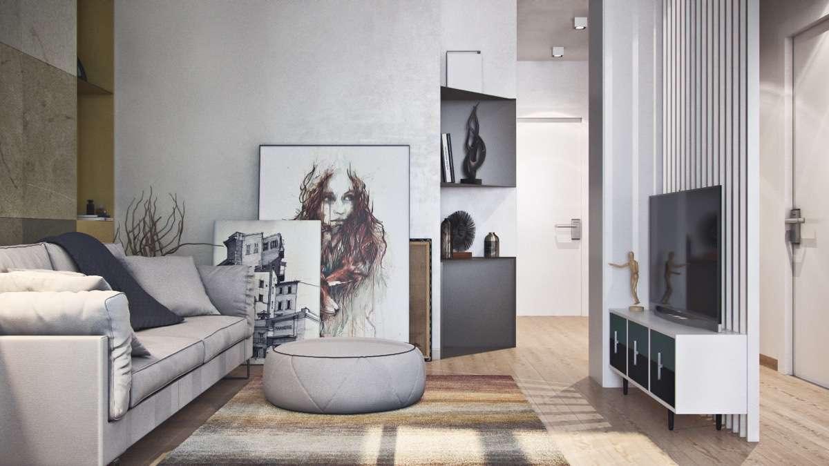 Simple Apartment Design Using Soft Color Decor Bring