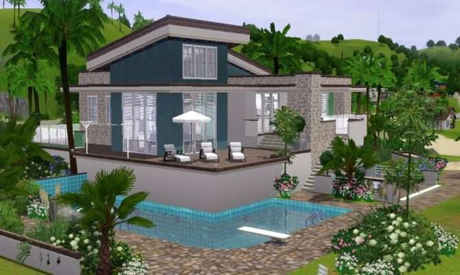 Sims Building Modern Holiday House Youtube