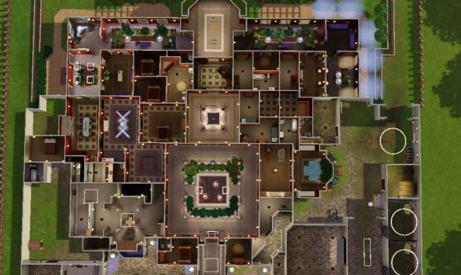Sims Mansion Floor Plans Open Courtyards