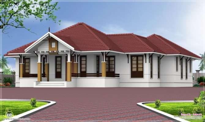 Single Floor Bedroom Home Courtyard Kerala Design
