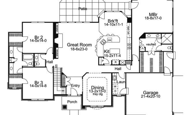 Single Story House Plans Ranch Plan First Floor
