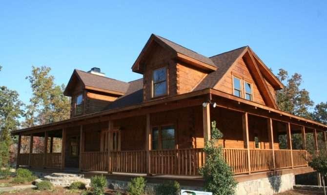 Single Story Log Homes Wrap Around Porch
