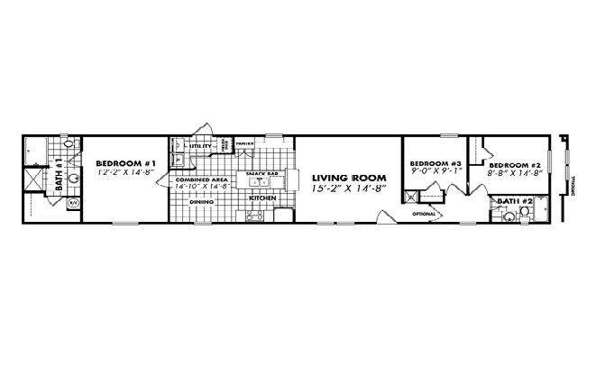 Single Wide Mobile Home Floor Plans Bedroom Bath