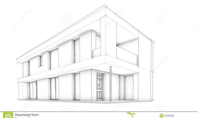 Sketch Modern House Only Illustration