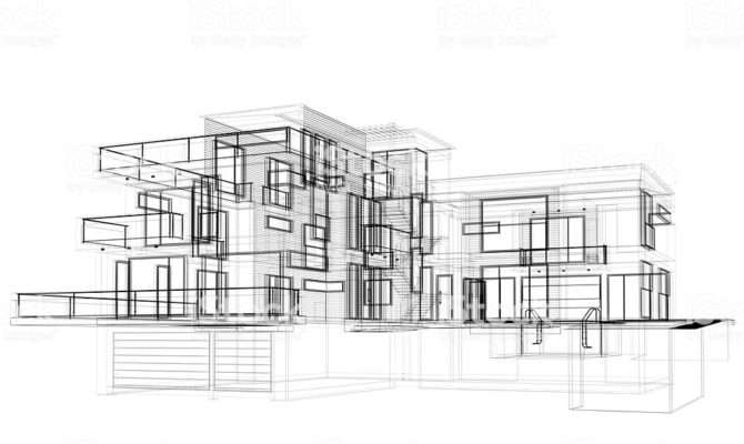 Sketch Modern House Wire Frame Layout Side
