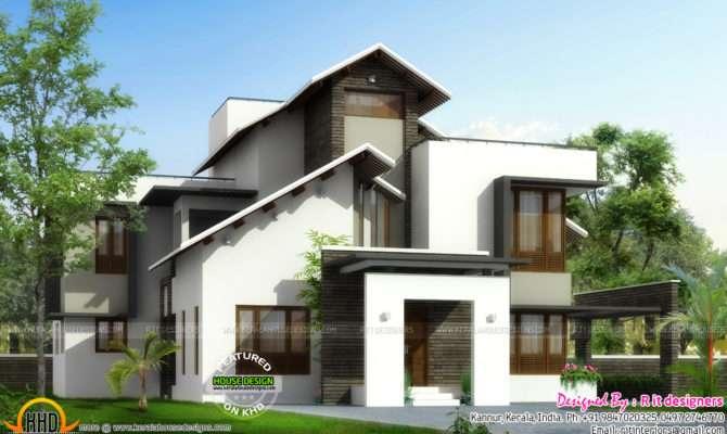 Slanting Roof Mix Home Plan Kerala Design Floor Plans