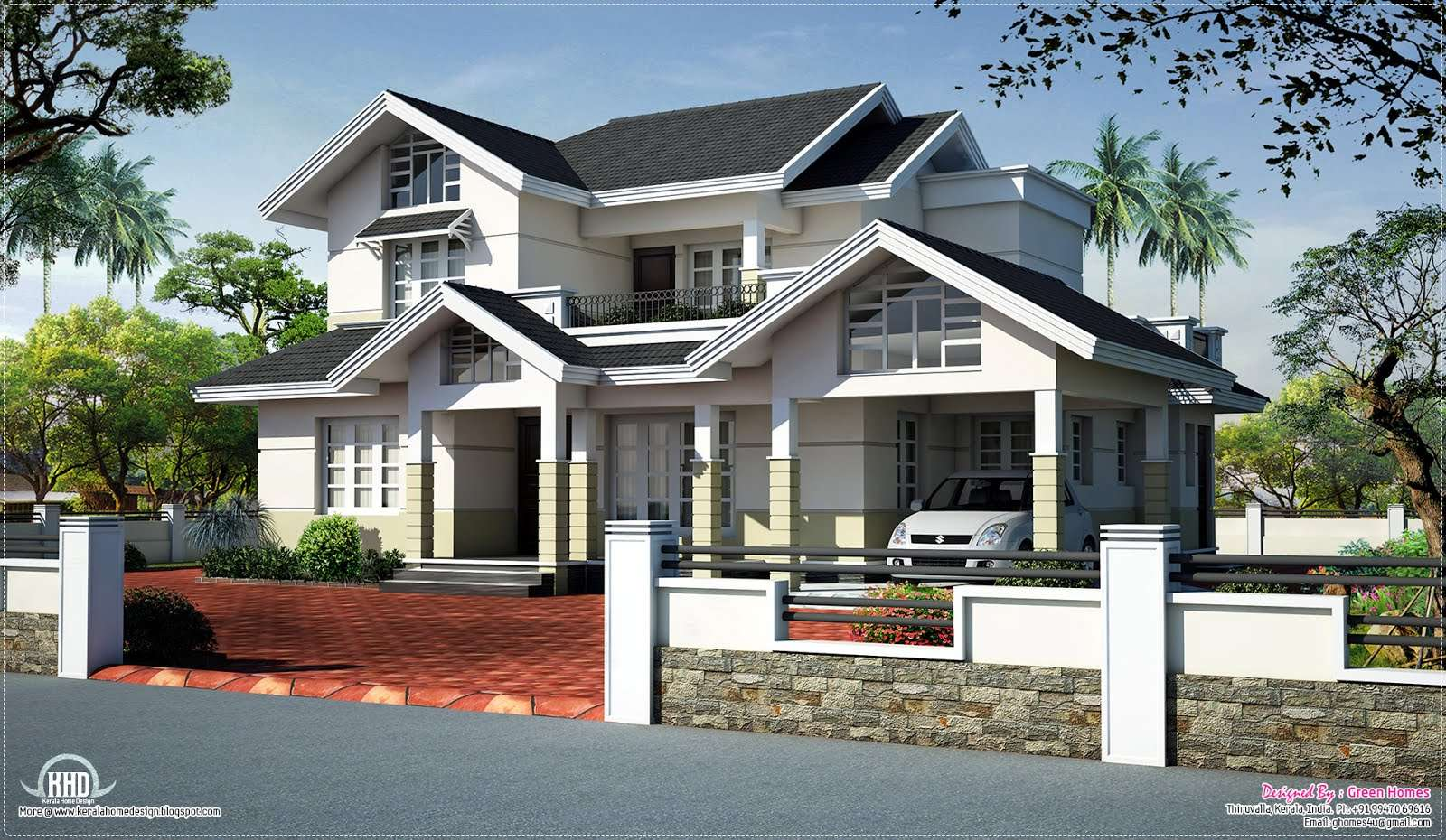 Sloped Roof House Elevation Design Plans