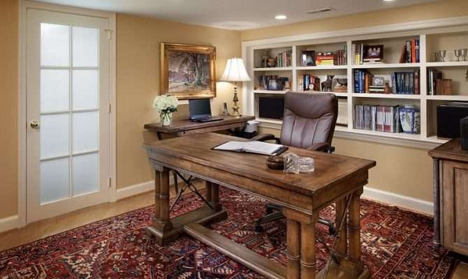 Small Basement Home Office Design Decorating Idea