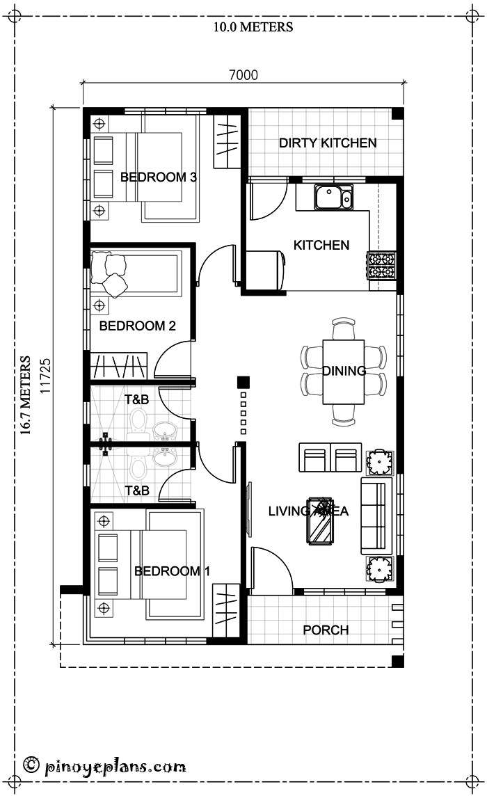 Small Bungalow Home Blueprints Floor Plans Bedrooms