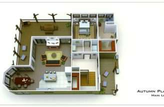 Small Cottage Floor Plan Rendering Autum Place Home Floorplans