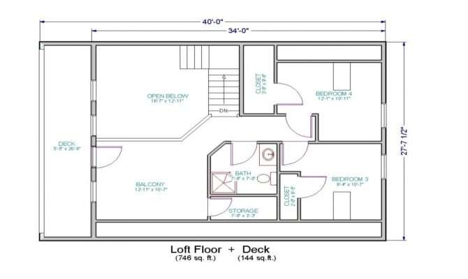 Small House Floor Plans Loft Two Bedroom
