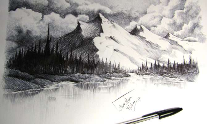 Snow Capped Mountains Drawing Sarameloni Deviantart