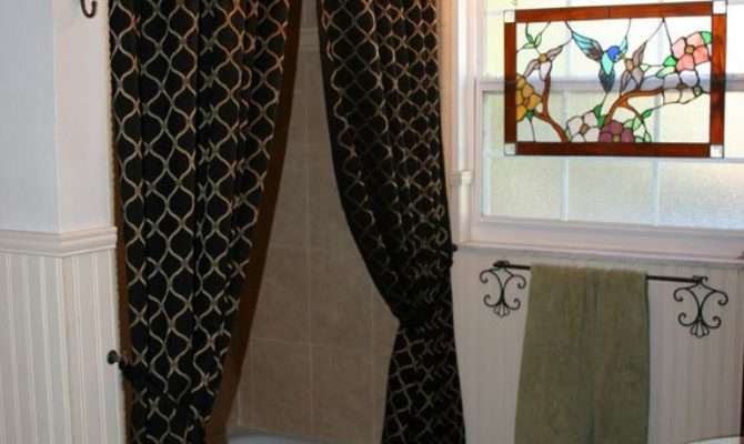 Sophisticated Fabric Shower Curtains Window Panels Black